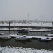 Le port du Crotoy enneigé janvier 2013